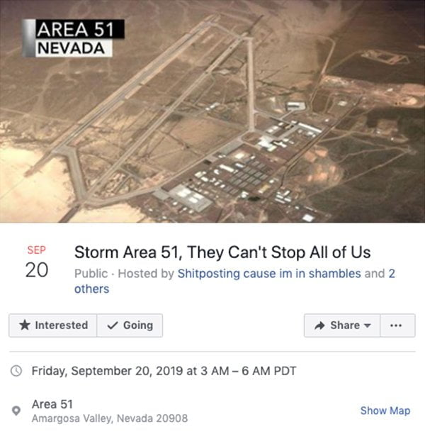 Facebook Event Post Of Area 51